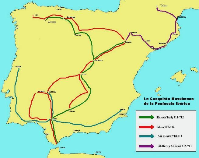Historia de Ronda Mapa de la conquista musulmana de la península ibérica